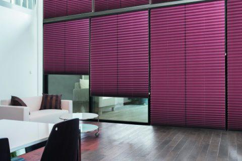 Salon avec stores intérieurs plissés