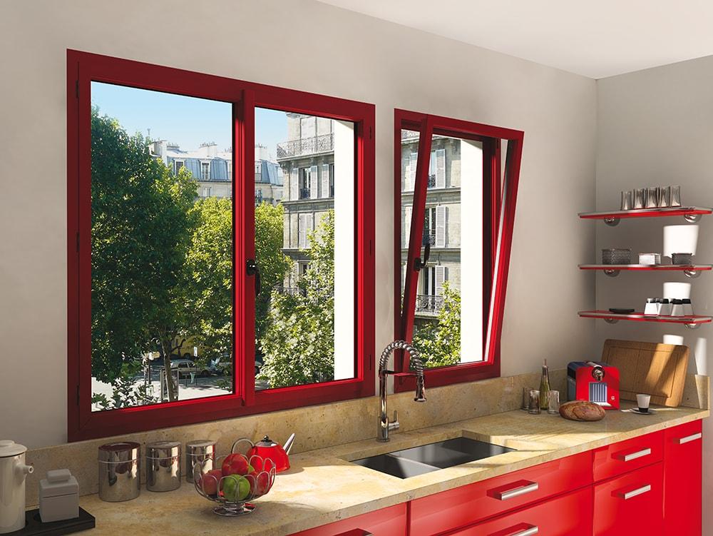 Fenêtre ALU rouge